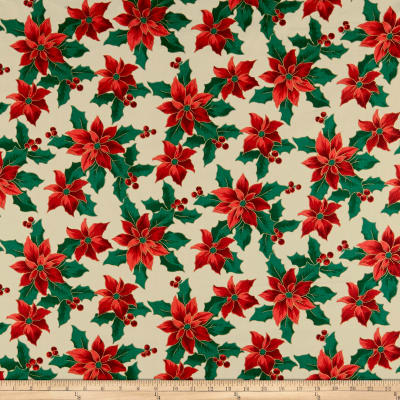 Christmas Cheer Poinsettias Metallic Cream