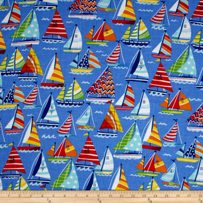 Clear Sailing Sailboats Allover Blue Multi Discount