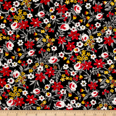 Botanical Garden Floral Black Red