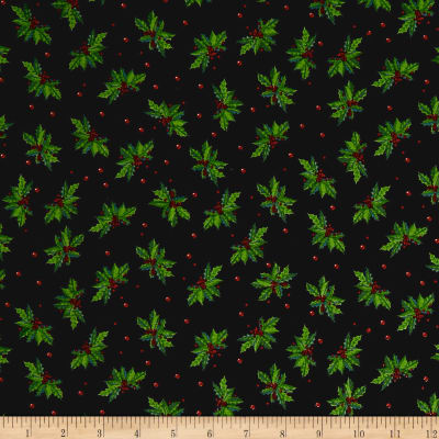Christmas Holly Allover Black