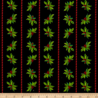 Christmas Holly Stripes Black
