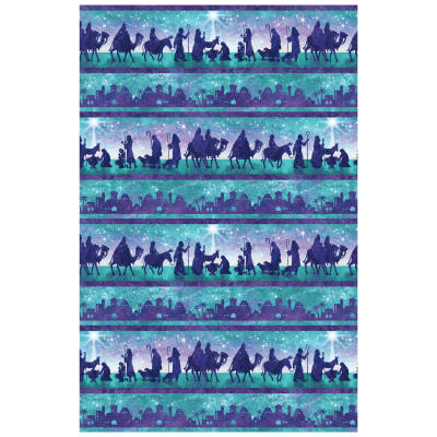 """Joy To The World Scenic 24"""" Panel Teal"""