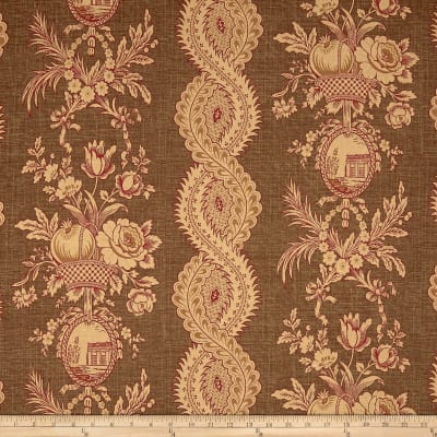 Thibaut St.Tropez Floral Stripe Basketweave Brown