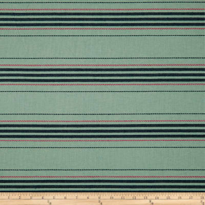 Upholstery Stripe Embroidered Canvas Aqua