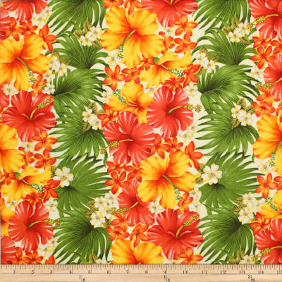 Trans-Pacific Textiles Tropical Hibiscus Rows Cream
