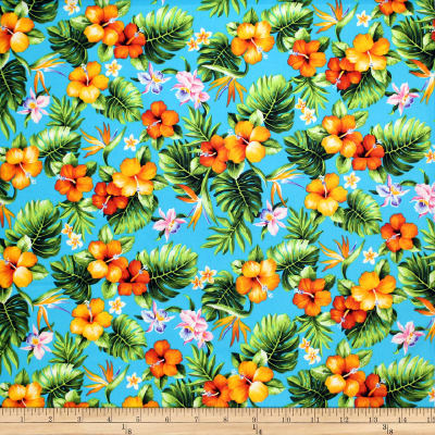 Trans-Pacific Textiles Tropical Mini Floral Bouquet Turquoise