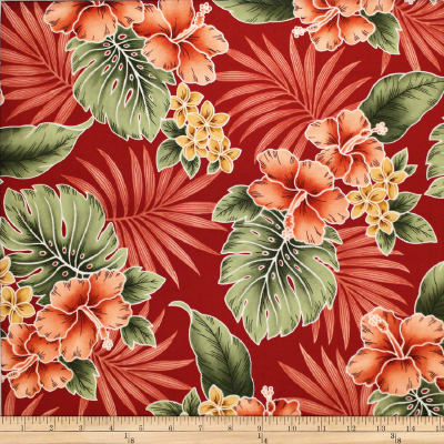Trans-Pacific Textiles Tropical Hibiscus Mixer Red