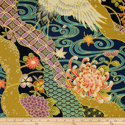 Trans-Pacific Textiles Asian Tsuru Waves Navy