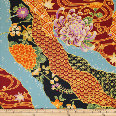 Trans-Pacific Textiles Asian Tsuru Waves Wine