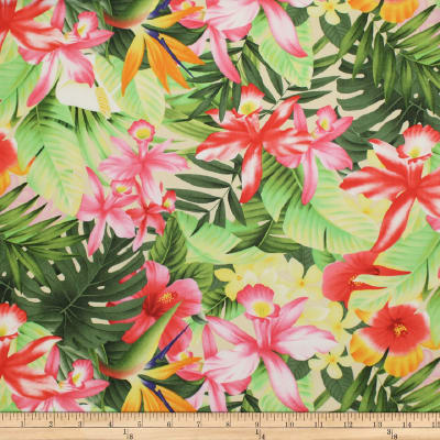 Trans-Pacific Textiles Tropical Floral Collage Beige
