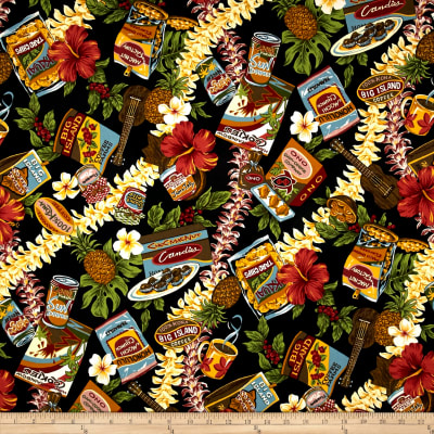 Trans-Pacific Textiles Hawaiian Snacks Black