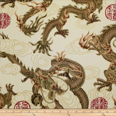 Trans-Pacific Textiles Asian Good Luck Dragon with Gold Beige