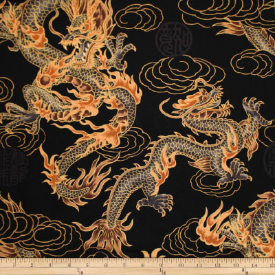 Trans-Pacific Textiles Asian Good Luck Dragon withGold Black
