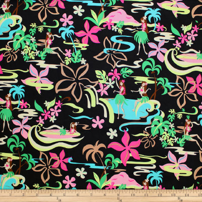 Trans-Pacific Textiles Groovy Hula Girls Black