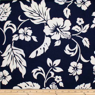 Trans-Pacific Textiles Simple Hawaiian Pareau Hibiscus Navy