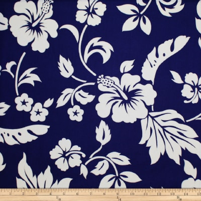 Trans-Pacific Textiles Simple Hawaiian Pareau Hibiscus Royal