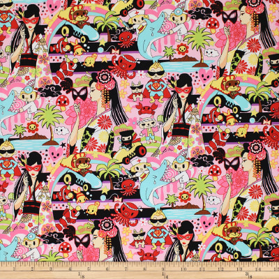 Trans-Pacific Textiles Tomodachi Wild World of Anime Pink