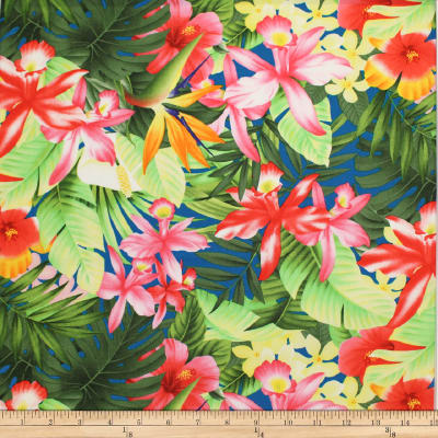 Trans-Pacific Textiles Tropical Floral Collage Blue