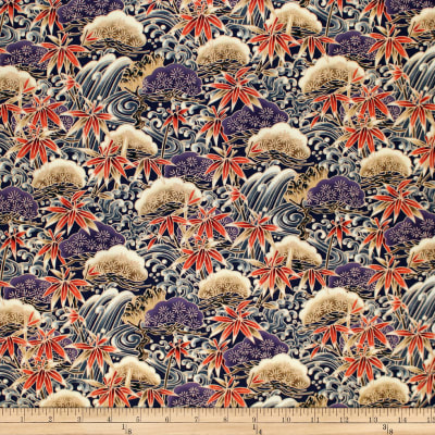 Trans-Pacific Textiles Asian Bamboo Leaves Purple