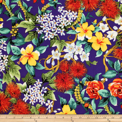 Trans-Pacific Textiles Hawaiian Island Flowers Purple