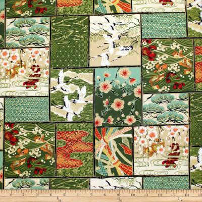 Trans-Pacific Textiles Asian Patch Blocks Green
