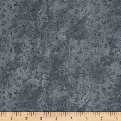 QT Fabrics Basics Quilting Temptations Curly Cue Blender Steel