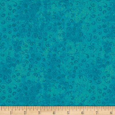 QT Fabrics Basics Quilting Temptations Curly Cue Blender Carribean