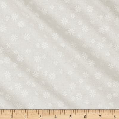 QT Fabrics Basics Quilting Illusions Stencil Floral Blender White On White