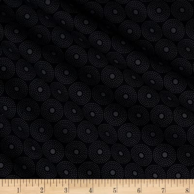 QT Fabrics Basics Quilting Illusions Circle Dot Blender Black On Black