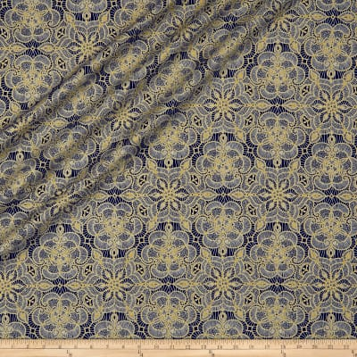 QT Fabrics Basics Luminous Lace Medallion Blender Metallic Black