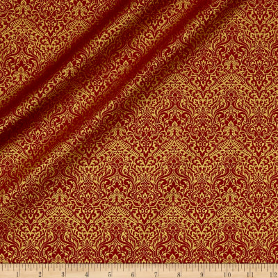 QT Fabrics Basics Luminous Lace Chevron Brocade Blender Metallic Red
