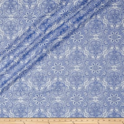 QT Fabrics Basics Luminous Lace Medallion Blender Metallic White/Royal