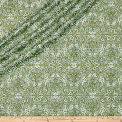 QT Fabrics Basics Luminous Lace Medallion Blender Metallic Cream/Forest