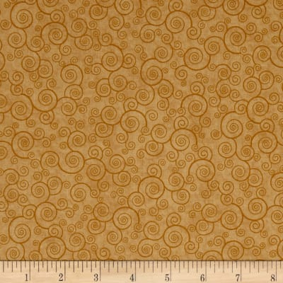 QT Fabrics Basics Harmony Cotton Curly Scroll Blender Honey