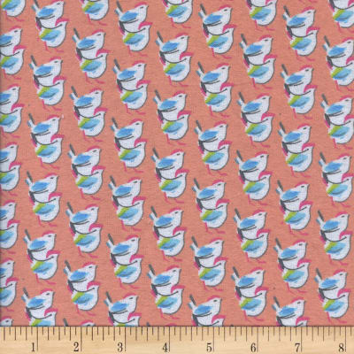 Printed Flannel Birds Coral