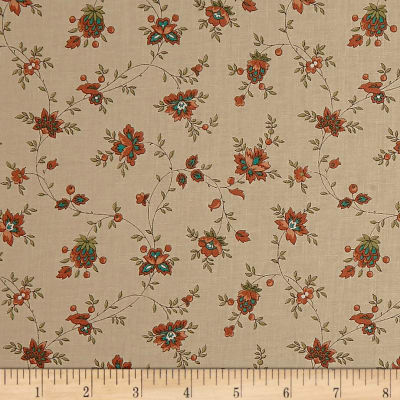 QT Fabrics Antiquities Bethel Spaced Floral Vine Tan