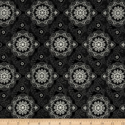 QT Fabrics Antiquities Colebrook Large Medallion Black