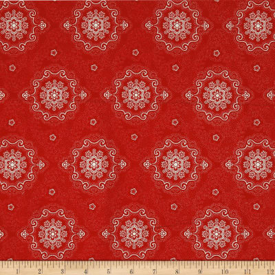 QT Fabrics Antiquities Colebrook Large Medallion Red