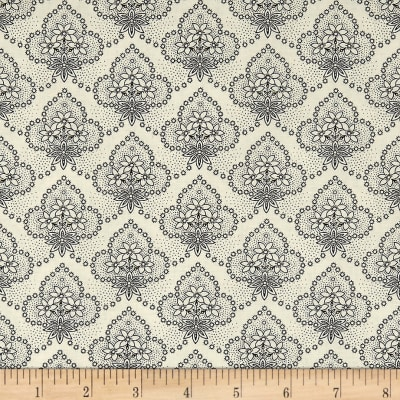 QT Fabrics Antiquities Colebrook Floral Medallions Cream/Black