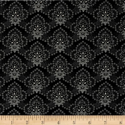 QT Fabrics Antiquities Colebrook Floral Medallions Black
