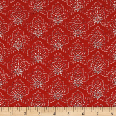 QT Fabrics Antiquities Colebrook Floral Medallions Red