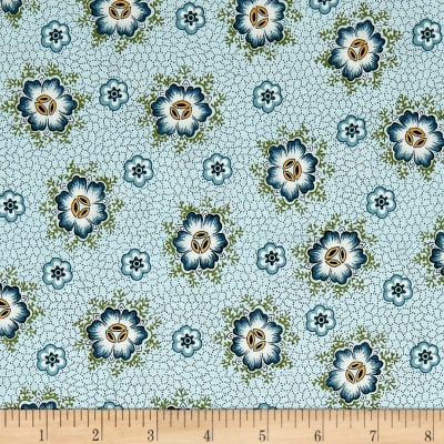QT Fabrics Antiquities Stafford Spaced Dotted Floral Light Blue