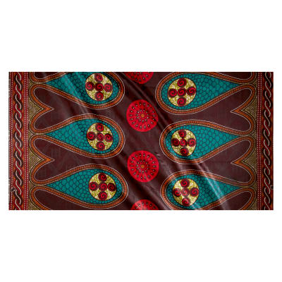 Supreme Basin African Print Broadcloth 6 Yards Brown Teal/Red
