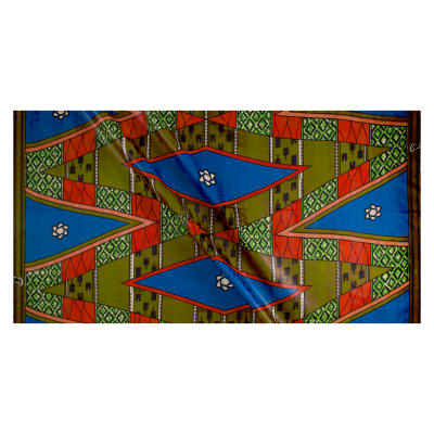 Supreme Basin African Print Broadcloth 6 Yards Blue/Red