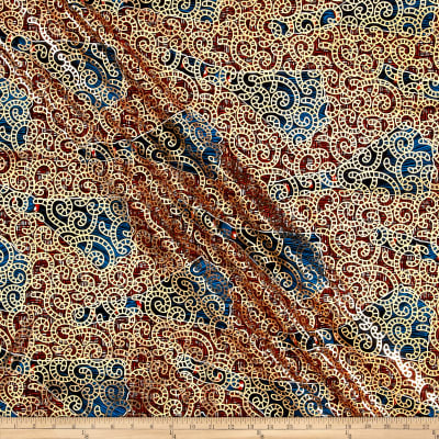 Supreme Osikani African Print Broadcloth 6 Yards Metallic Red/Blue
