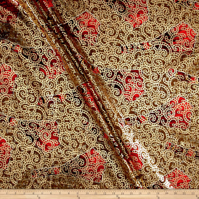 Supreme Osikani African Print Broadcloth 6 Yards Metallic Red/Tan