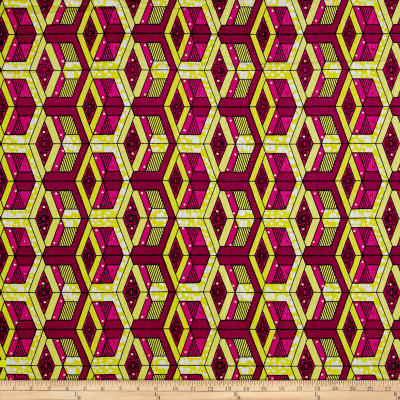 Supreme African Wax Print with Rhinestones Broadcloth 6 Yards Pink/Yellow