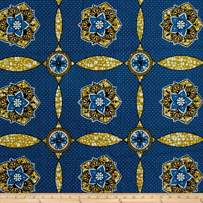 Supreme African Wax Print with Rhinestones Broadcloth 6 Yards Blue/Tan