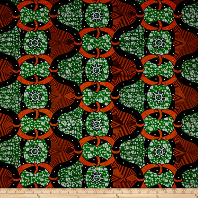 Supreme African Wax Print with Rhinestones Broadcloth 6 Yards Green/Orange
