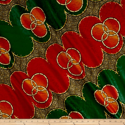 Supreme Basin African Print Broadcloth 6 Yards with Rhinestones  Red/Green